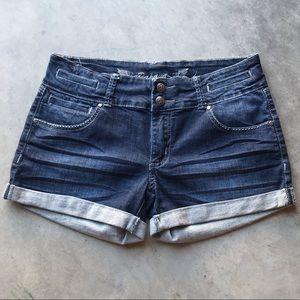 PAPAYA | Dark Wash Jean Shorts